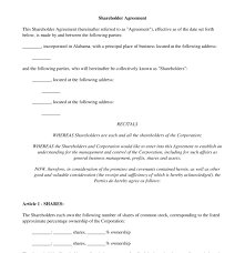 shareholder agreement free template word u0026 pdf