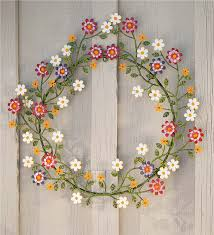 painted metal wreath with daisies wreaths