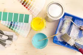 color palette guide and painting supplies paint brushes and col stock image image