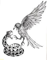 crow vs snake tattoo design by deandelirium on deviantart