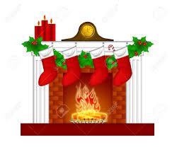 fireplace christmas decoration with garland stocking pillar