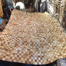 tappeti pelle di mucca marrone piccole reti pelli bovine naturale patchwork tappeto pelle
