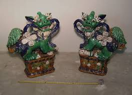 foo dog for sale pair ceramic palace foo dogs c1950 item 7372 for sale