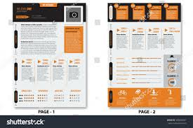 Two Page Resume Header Vector Creative Minimalist Cv Resume Template Stock Vector