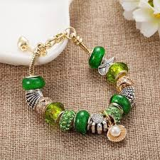 bracelet luxury charms images Luxury charm bracelet with pearl rose gold green charms pandora JPG