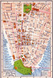 Maps Of New York State by Detailed Old Road Map Of New York City Of Lower Manhattan 1916