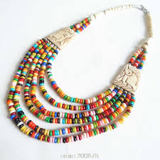 necklace beaded images Tnl363 tibetan necklace yak beaded rainbow necklace multi strands jpg