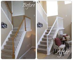 Railing Banister Before And After Painted Oak Stair Railing Banister White