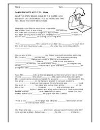 language arts activity cloze 3rd 4th grade worksheet lesson
