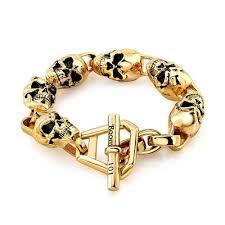 bracelet gold skull images Gold plated skull link bracelet room101 jpg
