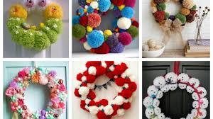 pom pom wreaths ideas for every season easy diy door wreaths