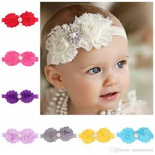 Shabby Flowers Shabby Flowers Baby Headbands Chiffon Fabric Flower Pearls