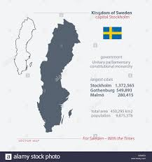 kingdom of sweden isolated maps and official flag icon vector