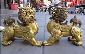 foo dog lion brass talisman fengshui evil door fu foo dog lion beast