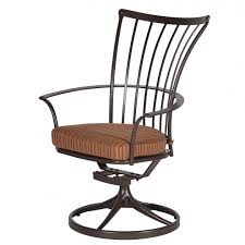 wrought iron high back swivel rocker patio chairs with curved arms