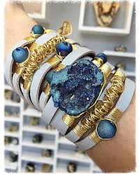 gold plated leather bracelet images Maxi wrap leather bracelet blue druzy stones gold plated jpeg