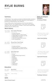 Store Manager Resume Sample by Front Desk Manager Resume Samples Visualcv Resume Samples Database