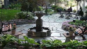 Backyard Flagstone Replace Pond With Fountain And Flagstone Patio