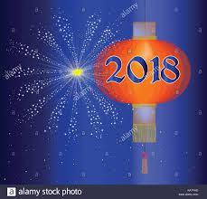 firework lantern a 2018 new year paper lantern and firework explosion stock