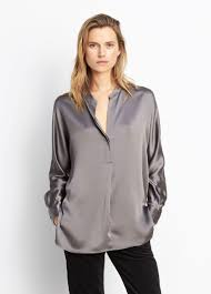 blouse band lyst vince band collar blouse in gray