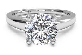 cut solitaire engagement rings cut solitaire cathedral engagement ring in platinum