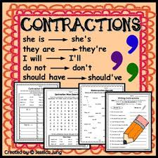 contractions worksheets and posters by jessica jung tpt
