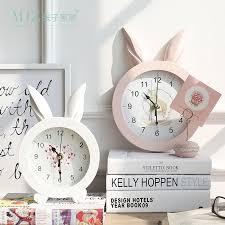 horloge de bureau design zim accueil blanc creative lapin oreille en bois mur quartz montre