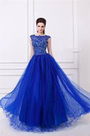 royal blue tulle line sheer illusion neckline backless royal blue tulle beaded