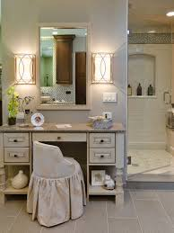 Bathrooms With Mirrors by Rectangle White Wooden Makeup Table With Grey Granite Top