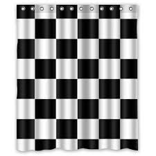 Black And White Checkered Curtains Design Black White Checkered Pattern Waterproof