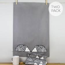 scion grey scion living spike hedghog print grey cotton tea towels set of 2