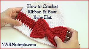 crochet ribbon how to crochet a ribbon and bow baby hat