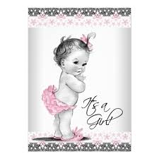 baby shower cards vintage pink and gray baby girl shower card zazzle