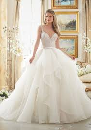 wedding dres beaded bodice on flounced tulle and organza style 2887 morilee