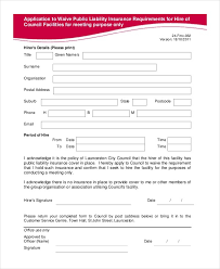 insurance waiver form template best business template