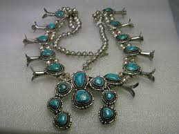 vintage turquoise silver necklace images Vintage sterling silver naja turquoise squash blossom necklace JPG