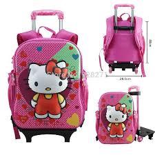 buy 3d kitty trolley backpacks girls boys mochila