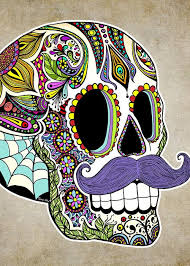 Sugar Skulls For Sale Mustache Sugar Skull Vintage Style Greeting Card For Sale By Tammy