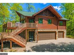 one story log cabins brainerd lakes mn waterfront property including lakefront real