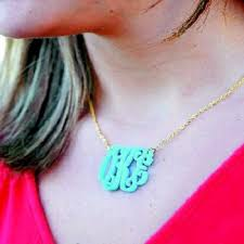 Monogram Necklaces Monogram Necklaces Acrylic Castle Goods
