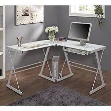 computer desk glass metal amazon com we furniture glass metal corner computer desk kitchen