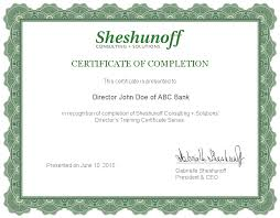 director u0027s training certificate series samples sheshunoff