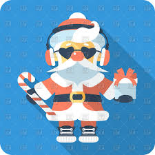cool santa in sunglasses and headphones flat design icon vector