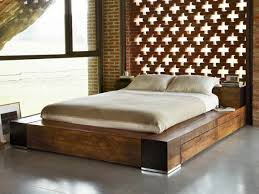 varnished brown low profile used wood king bed frame with is also