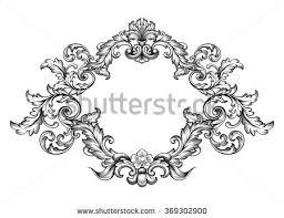 vintage baroque victorian frame border monogram stock vector