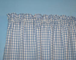 Blue And White Gingham Curtains Gingham Valance Etsy