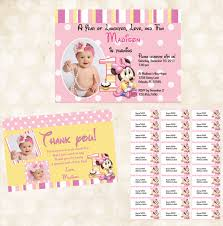 Avery Invitation Cards Minnie Mouse 1st Birthday Invitations Birthday Party Invitations
