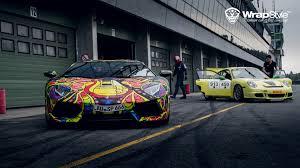 Lamborghini Aventador Tron - lamborghini aventador with psychedelic wrap looks like an art car
