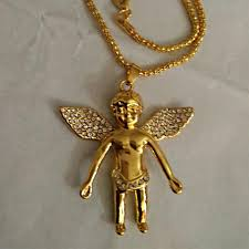 gold necklace with charm images Wholesale mens 18k gold plated angel necklaces charm golden chain jpg