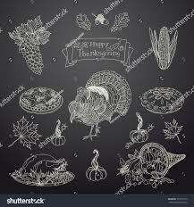 thanksgiving chalkboard art vintage vector illustration set thanksgiving icons stock vector